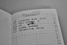 My pocket notebook setup - projects page